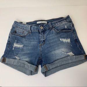KanCan womens Sz 28 distressed cuffed denim shorts
